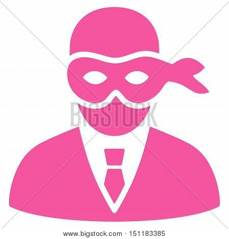 Masked Thief icon. Glyph style is flat iconic symbol with rounded angles, pink color, white background.