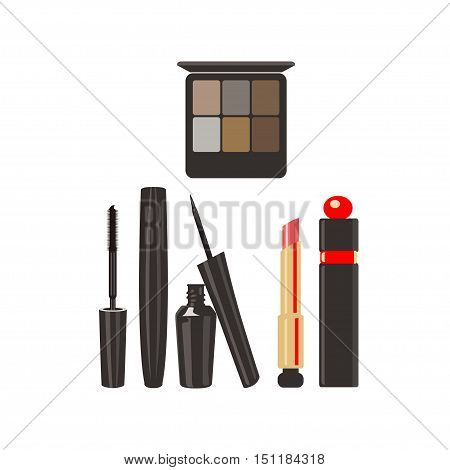Makeup cosmetics for face on a white background. Vector illustration