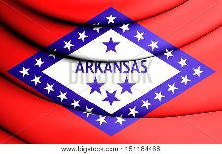3D Flag Of Arkansas, Usa. 3D Illustration.