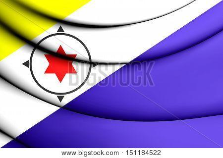 3D Flag Of Bonaire, Netherlands. 3D Illustration.