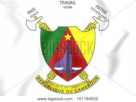 Cameroon Coat of Arms. 3D Illustration. Close Up.