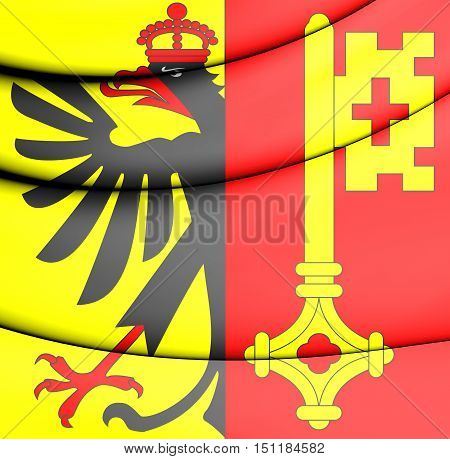 Flag Of Geneva Canton, Switzerland. 3D Illustration.