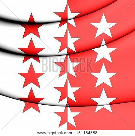3D Flag Of Valais, Switzerland. 3D Illustration.