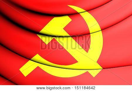 Communist Party Of Vietnam Flag. 3D Illustration.