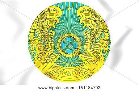 Kazakhstan Coat of Arms. 3D Illustration. Close Up.