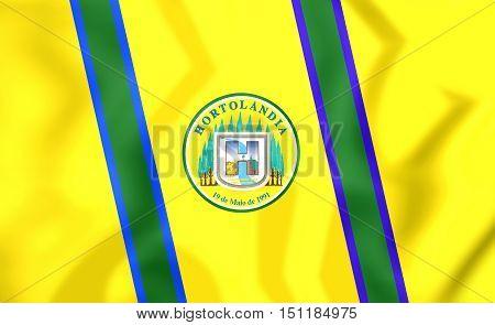 3D Flag Of Hortolandia (sao Paulo State), Brazil. 3D Illustration.