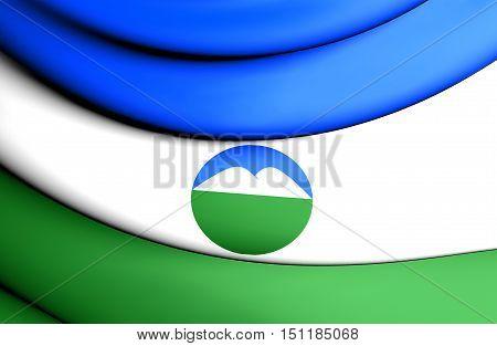 3D Flag Of Kabardino-balkar Republic, Russia. 3D Illustration.
