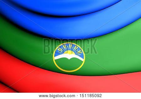 3D Flag Of Karachay-cherkess Republic, Russia. 3D Illustration.