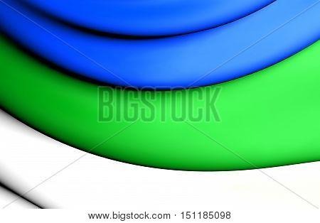 3D Flag Of Komi Republic, Russia. 3D Illustration.