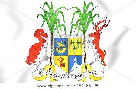 Mauritius Coat of Arms. 3D Illustration. Close Up.