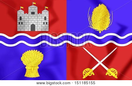 3D Flag Of Newbury, England. 3D Illustration.