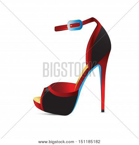 Red shoes with high heels. Vector illustration
