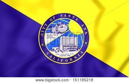 3D Flag Of Santa Ana (california), Usa. 3D Illustration.