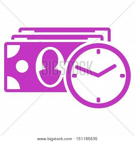 Cash Credit icon. Glyph style is flat iconic symbol with rounded angles, violet color, white background.