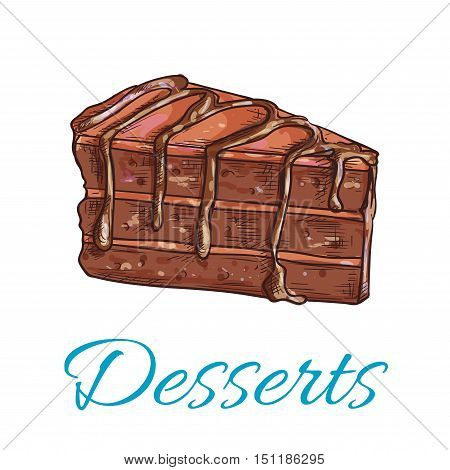 Desserts. Brownie cake icon. Patisserie shop emblem. Vector sweet cupcake with chocolate topping. Template for cafe menu card, cafeteria signboard, bakery label