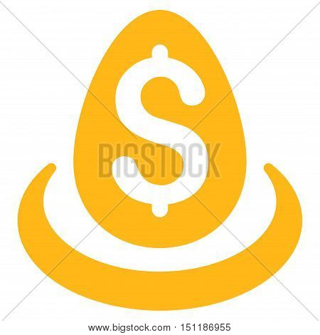 Dollar Deposit Egg icon. Glyph style is flat iconic symbol with rounded angles, yellow color, white background.