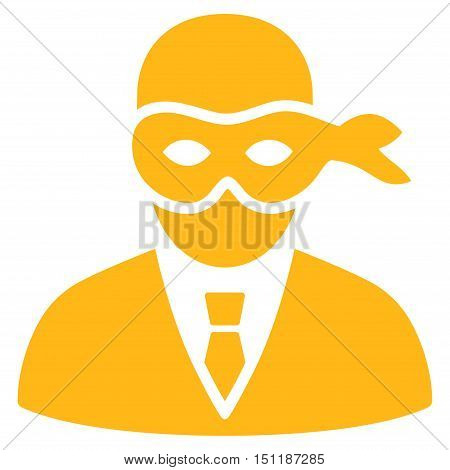 Masked Thief icon. Glyph style is flat iconic symbol with rounded angles, yellow color, white background.