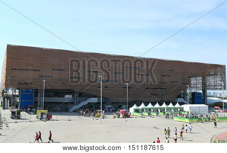 RIO DE JANEIRO, BRAZIL - AUGUST 7, 2016: Future Arena or Arena do Futuro at the Olympic Park in Rio de Janeiro. The venue hosted handball tournament at the 2016 Summer Olympics