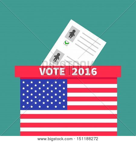 American flag Ballot Voting box with paper blank bulletin Man Woman concept. Polling station. President election day Vote 2016. Isolated Green background Flat design Card. Vector illustration