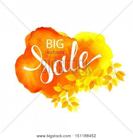 Autumn Big Sale lettering on watercolor orange abstract stain background. Decorated by autumn branch with season leaves