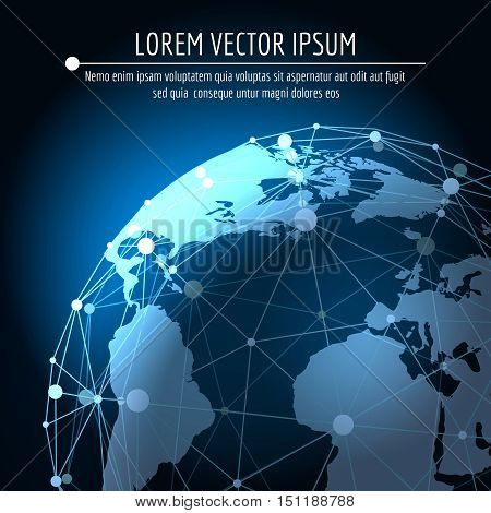 Vector global connection abstract background. Internet 3d network business globalization concept with world map
