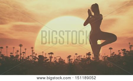 The silhouette of a girl doing yoga on a field at sunset. This is a 3d render illustration