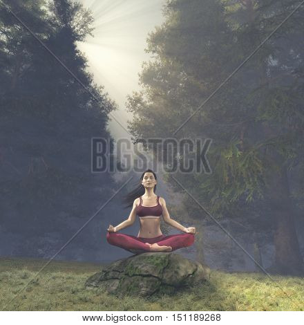 Woman meditating in lotus posture doing yoga on a rock in the forest. This is a 3d render illustration.