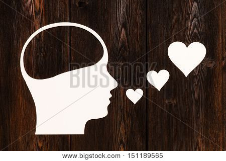 Paper head with blank space inside, singing. Love concept. Abstract conceptual image with copyspace