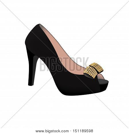 Black shoe with a bow on a high heel. Vector illustration