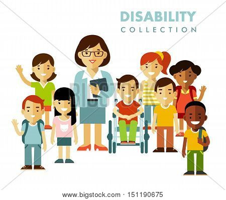 Disabled boy in wheelchair together with school kids group and teacher isolated on white background