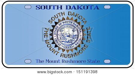 South Dakota license plate in the colors of the state flag with the flag icons over a white background