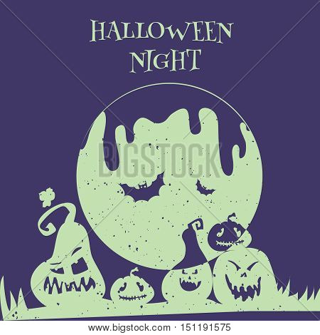 Happy Halloween party poster card. Vector illustration flyer of happy Halloween party with cartoon pumpkins silhouette and moon in retro stile