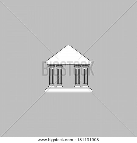 Justice court Simple line vector button. Thin line illustration icon. White outline symbol on grey background