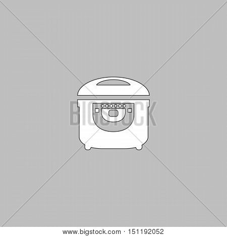 electric pan Simple line vector button. Thin line illustration icon. White outline symbol on grey background