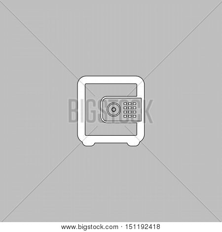 strongbox Simple line vector button. Thin line illustration icon. White outline symbol on grey background