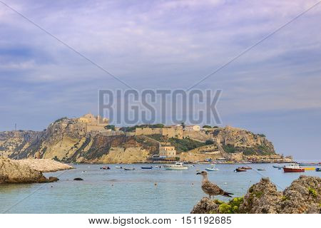 Gargano National Park:Tremiti Island (Apulia) ITALY. A view of San Nicola island from the nearby San Domino island, with the Abbey of Santa Maria a Mare fortified complex.