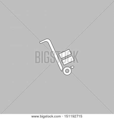 forklift Simple line vector button. Thin line illustration icon. White outline symbol on grey background