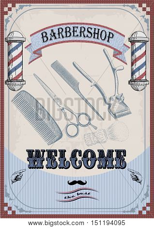 Frame border scissors clippers shears brush swab razor hairclipper blade barber vintage retro barbershop. Vector vertical closeup top view beautiful old school barber's salon background sign signboard