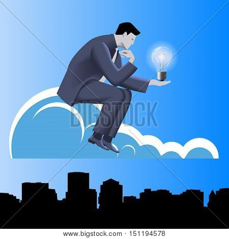 Idea born business concept. Pensive businessman in business suit with light bulb in his hand sitting on the cloud and thinking. Concept of innovation, solution, idea born.