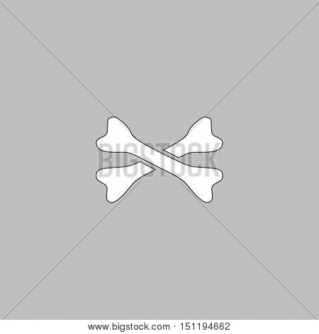 crossed bones Simple line vector button. Thin line illustration icon. White outline symbol on grey background