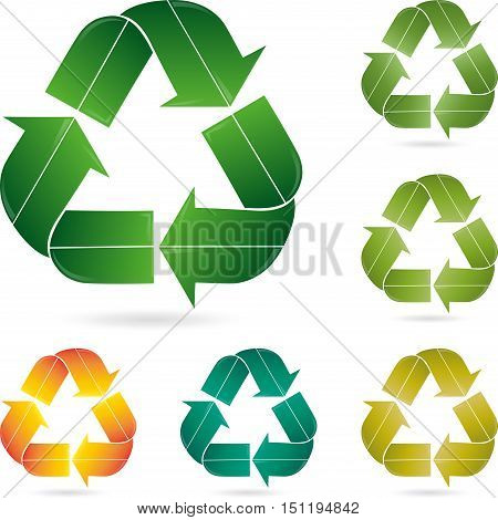 Recycling signs, three arrows, eco and recycling logo