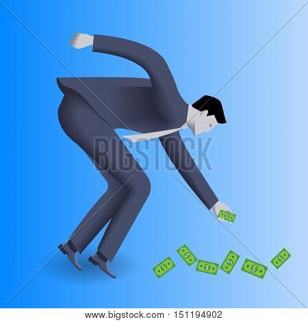 Money under your feet business concept. Confident businessman in business suit picks money bills under his feet. Concept of investment, easy money, profitable business area.