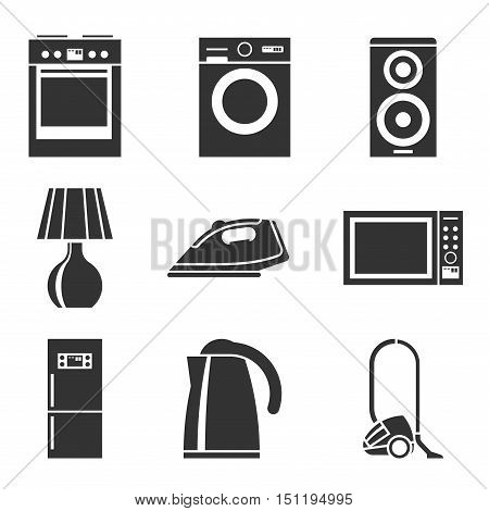 Set of household appliances silhouette icons with a washing machine stove fridge speaker iron microwave lamp television kettle