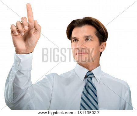 Portrait of a Businessman Pressing an Imaginary Button