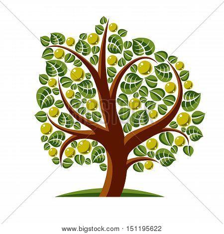Tree With Ripe Apples, Harvest Season Theme Illustration. Fruitfulness And Fertility Idea Symbolic I