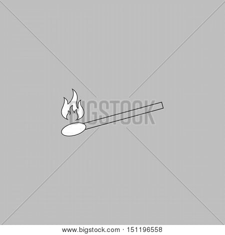 Match Simple line vector button. Thin line illustration icon. White outline symbol on grey background
