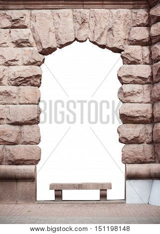 arch made of stone with place for text.