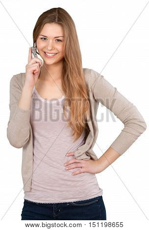Woman Talking on The Phone with Hand on Hip - Isolated
