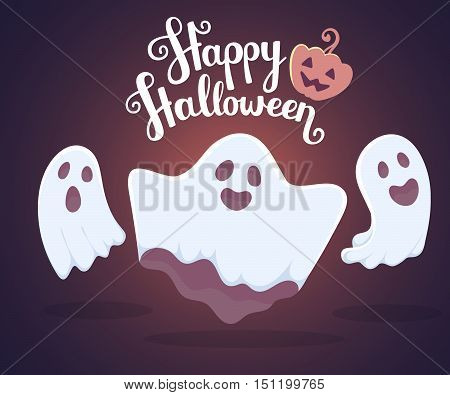 Vector Halloween Illustration Of White Flying Three Ghosts With Eyes, Mouths On Dark Blue Gradient B
