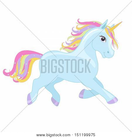 Blue magic running unicorn with rainbow mane and horn isolated on white background. Vector illustration.